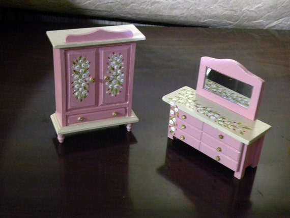 dollhouse bedroom furniture armoire dresser 1 3 4