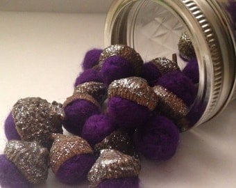 Needle Felted Purple Acorns with Silver Glitter Caps