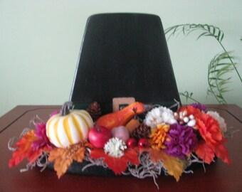 Pilgrim Hat, Thanksgiving, pumpkin, flowers, decoration, handmade, centerpiece, fall