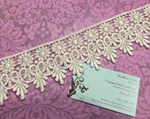 1 yard of 2 1/2 inch Ivory Venise Lace trim for wedding, bridal, scrapbooking, jewelry, housewares, couture by MarlenesAttic - Item 3K