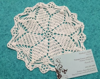 Vintage 7 inch Hand crochet white doily for housewares, home decor, pillows, sewing, crafts, shabby chic, bags by MarlenesAttic