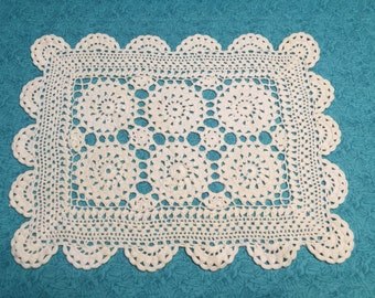 Vintage 12 x 9 inch White Hand Crochet doily for housewares, home decor,crafts, shabby chic, bags by MarlenesAttic