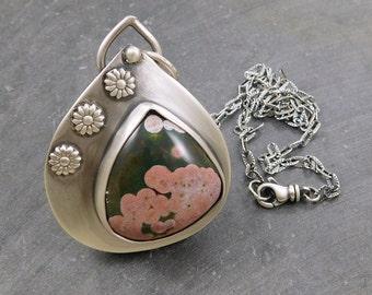 Pink Black Ocean Jasper Pendant, Oxidized Sterling Silver, Ocean Jasper Flower Necklace