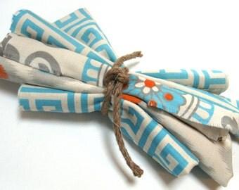 Orange Gray Fabric  - Orange Fabric - Aqua Fabric -Fabric Bundles Crafting Craft Projects - Blue Fabric by the yard - Fabric Scraps -