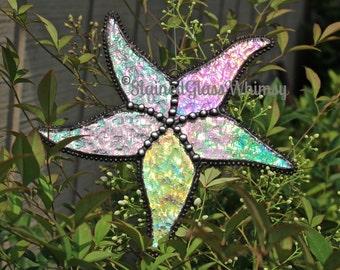 Stained Glass STARFISH Suncatcher - Clear Rainbow Iridescent , Textured -- USA Handmade Original Design, Beach Decor, Sea Star