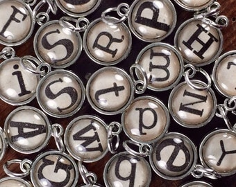 Alphabet charms, Silver Letter Charms, Initial Jewelry, Add A Letter Charms, Children's Initials, Glass Initial Charm, Initial Charm Pendant