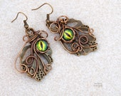 Green Dragon eye wire wrapped earrings/Leaf earrings/Gift for her/Nature jewelry