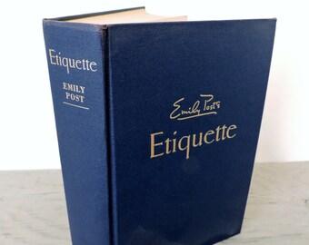Vintage Etiquette Book - Emily Post's Etiquette: The Blue Book Of Social Usage - 1957 - Illustrated - Social Etiquette