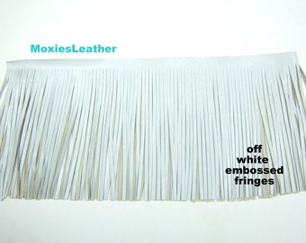 off white leather - fringes leather -Leather fringes off white embossed, tassles, purse, boots