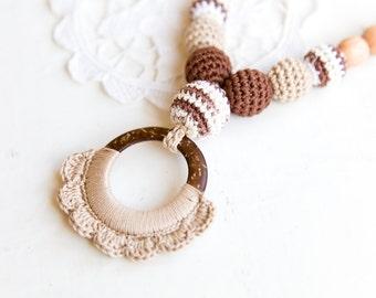 SALE Coconut ring nursing pendant -  Sling Accessory - breastfeeding necklace - nursing necklace -  babywearing