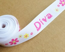 new stock grosgrain ribbon remnant //3.5 yards//width 1 in// repeating juvenile DIVA and flower power print in white, pink, yellow and lime