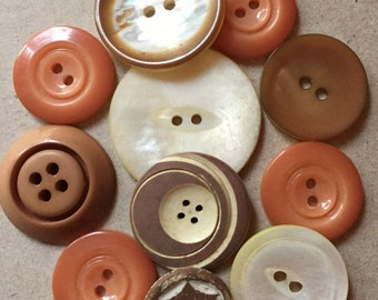 toasty tan peach and cream eco friendly plastic and shell buttons--mixed lot of 11