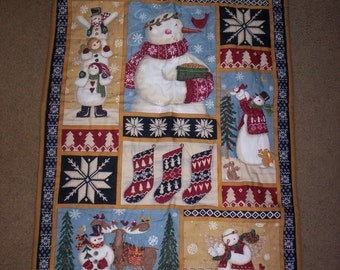 SNOWMAN Hand Quilted Wall Hanging