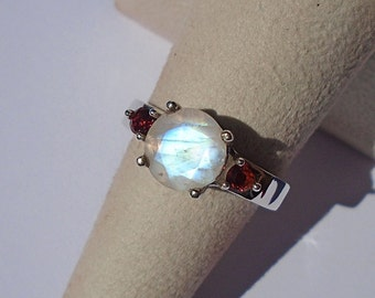 Rainbow Moonstone Sterling Silver Ring Size 6.75 Was 75.00 On SALE 65.00