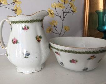 Vintage china cream and sugar bowl