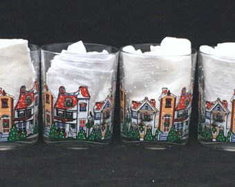 Christmas Double Old-Fashioneds Holiday Village by Arcopal France (Set of Four) in Excellent Condition