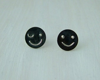 Sterling silver 'emoticon' inspired stud earrings