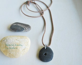 Natural jewelry - river stone - unique necklace -zen -organic