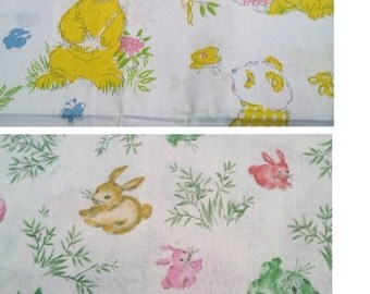 Nursery cotton fabric different prints.. 2 plus yards..  bear butterfly  print  and playful rabbits  19.00 EACH  cute vintage cotton fabric.
