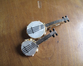 2 Banjo PIns, One larger, One Smaller, Mother of Pearl, Gold tone, Pinback, Boutonniere, Duet