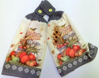 Happy Fall Crochet Top Kitchen Hand Towel Set of 2