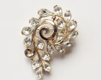 Crown Trifari Vintage Brooch, Alfred Philippe Design Rhinestone Brooch, Bridal Jewelry