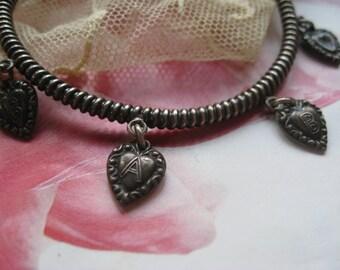 Victorian Puffy Hearts Charm Bracelet, Victorian Heart Charms, Antique Charm Bracelet, Victorian Bracelet, Baby Jewelry, Victorian Charms