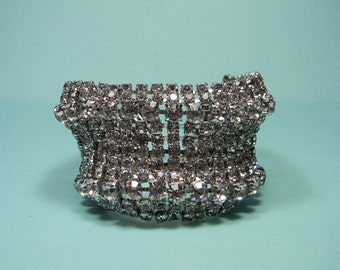 Clear Rhinestone Bracelet, Beautiful Raised Profile, Vintage Elegant, Wedding, Bridal