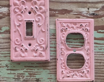 Light Switch Cover   Girls Room   Pink   Outlet Cover   Shabby Chic  Coastal