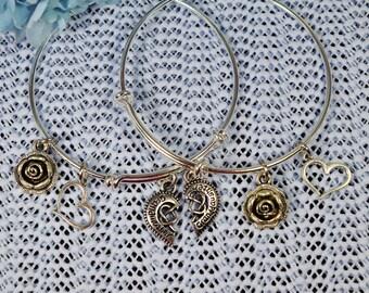 Grandmother/Granddaughter Bracelets....Set of 2 Expandable Silver Plated Bangle Bracelets