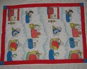 Vintage Snoopy/Peanuts Small, Crib/Lap Size Quilt - Sleepy Time, Bed Time - Snoopy, Charlie Brown & the Gang Tucked Into Bed