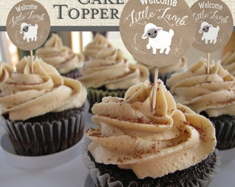 Little Lamb printable cupcake toppers. Instant download.