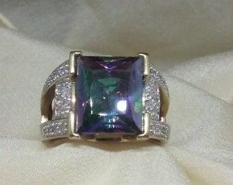 Mystic Topaz Diamond 10k Ring 7 g with FREE SHIPPING