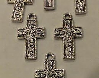 CLEARANCE Antique Silver Cross Charm Scroll Design 24 pieces Pendant Church DIY Jewelry