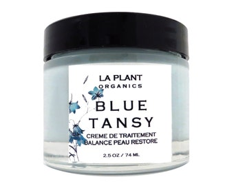 Organic BLUE TANSY Face Cream Face all Natural Face Moisturizer  2.5 OZ Glass Jar