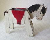 Wooden Horse Rustic Western Folk Art Spam Can Vintage Primitive Planter Unique White Red