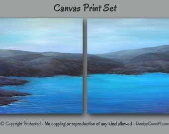 Canvas wall art Giclee print set large, Teal & Gray home decor, Blue Violet artwork, Bedroom decor, Office, Coastal beach Seascape Landscape