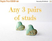 Any 3 post earrings, round posts, geometric studs, heart earrings, free shipping, triangle posts