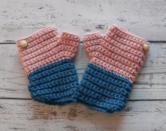 Fingerless Gloves, Pink and Blue Gloves, Wrist warmers, READY to SHIP!