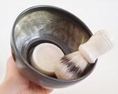In Stock, Stoneware Shaving Mug, Hand Thrown Black Shaving Dish, Textured Wet Shaving Bowl, Father's Day Gift