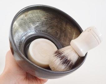 IN STOCK, Stoneware Shaving Mug, Hand Thrown Black Shaving Dish, Textured Wet Shaving Bowl, Shaving Cup, Fathers Day Gift