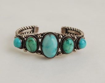 Darrell Cadman Silver Turquoise Bangle