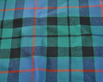 Morrison Tartan Fabric. 100% 10oz Pure New Wool. Remnant Piece. Morrison Green Ancient or Morrison Red Modern available