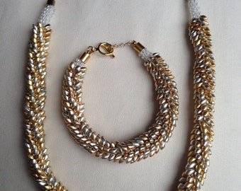 Silver and Gold Magatama Kumihimo Set - Necklace and Bracelet