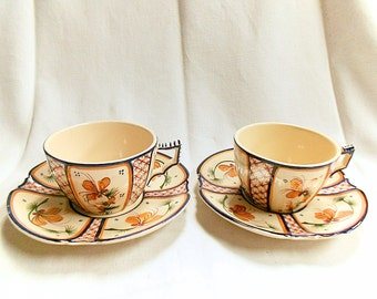 Pair of French Vintage HB Quimper Petite Bretonne Hand Painted Breakfast Cups & Saucers (C149)