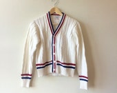 University Cardigan White Red and Blue Stripe Sweater Boys Medium Womens XXS