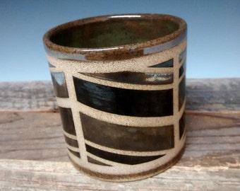 Contemportary Ceramic Cup - Modern - Handmade Pottery - Green Stoneware