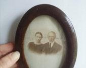 Antique framed photograph wooden antique frame round frame