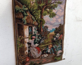 Vintage wall hanging embroidery wall piece handmade vintage