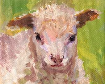 Lamb painting, nursery art, Lamb acrylic on canvas original, kids room art, woodland, farm animal painitng